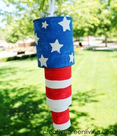 How to make patriotic wind chimes with recycled cans.
