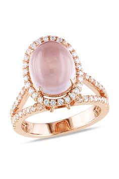 Rose Gold Quartz Stone Ring