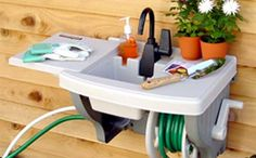 This Instant Outdoor Sink is a very convenient way to rinse vegetables, repot plants, or clean garden tools after a relaxing day in the yard for moms that love gardening.