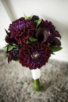 My wedding bouquet featured dark purple dahlias and calla lilies