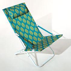 Pagoda Blue Block Print Beach Chair | World Market