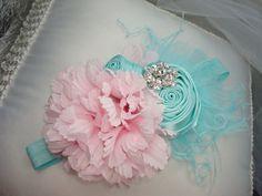 Baby Flower HeadbandAqua Baby Headband Photo by lepetitejardin, $19.95