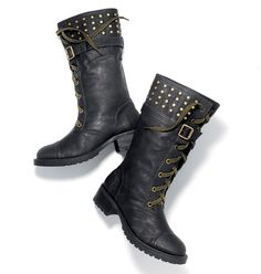 """Avon: mark Rock The Boot.  Attent-shun! Toughen up everything from shorts and a tee (now) to a dress and tights (later) with our super-cool, military-minded boots. Wear them tall and buckled up top or fold the cuffs down for a second, fiercely fashionable look! Faux leather with goldtone studs, eyelets and buckles. 11/2"""" heel.  Yes, I have these boots and THEY ROCK!!  See other pictures of these awesome boots at www.KonaBeauty.com."""