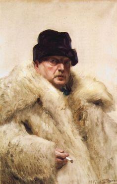 Self-portrait in a wolfskin - Anders Zorn
