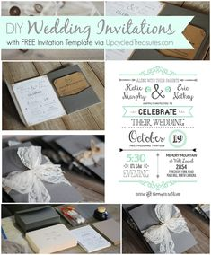 AMAZING tutorial + resources + free templates for DIY wedding invitations from Upcycled Treasures. SO happy I stumbled upon this. I can't wait to DIY my wedding! :) (Includes: FREE Adobe Illustrator 30-day trial, FREE font downloads, FREE vector downloads, and FREE advice)