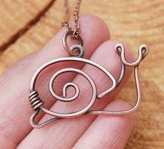Snail Necklace. Snail. Copper. Oxidized. Wire Jewelry via Etsy