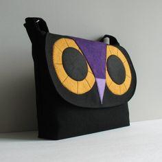 Black owl messenger bagdenim by Sisoibags on Etsy