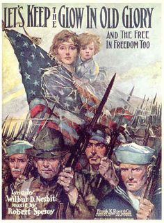 American poster: Let's Keep the Glow in Old Glory and the Free in Freedom too.