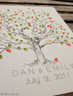 guest book finger print tree - this is such a cute idea!