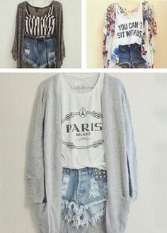 Love all these. Crop top with sweaters  high waisted shorts