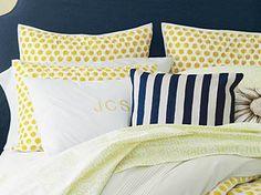 Dot bedding - navy & Yellow