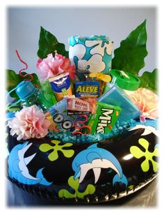 Summer gift basket idea! Love this one. We've used coolers in the past for our items but this is unique and cheaper! teacher gifts, silent auction baskets, summer gifts, summer basket ideas, cooler gift basket, summer fun, summer gift basket ideas, summer gift baskets, summer basket gift ideas