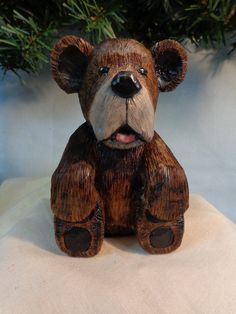 Hand carved bear carved wood bear cabin by WeAreOutofOurGourds, $35.00