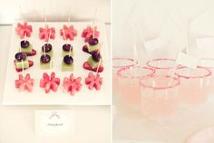 fruit cut outs, rimmed glasses