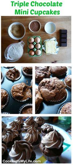 Triple Chocolate Mini Cupcakes