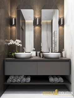 Small bathroom with twin sinks - #bathroom #miroir #sinks #Small #twin