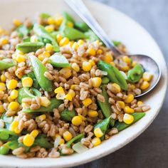Farro with Fresh Corn and Sugar Snap Peas
