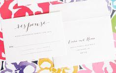 Rustic Wedding Invitations with Big Script - Response cards with return addressing - Flowing Script Wedding Invitations