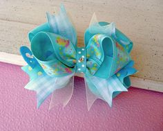 Girls Boutique Hair Bow Aqua Fairy Princess by extrafrostingplease, $8.50