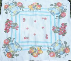 Fruit Patterned White Square Tablecloth  by RosebudsOriginals, $24.95