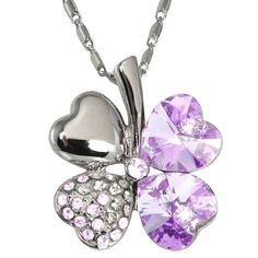 New in Gift Box Four Leaves Clover Necklace with Swarovski Crystals Purple Color $19.99