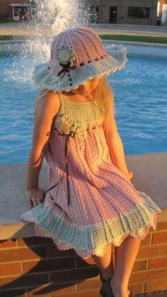 Crochet girls dress and hat pattern