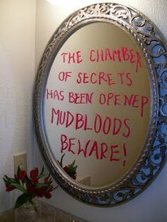 100 + Harry Potter Halloween Party Ideas ~ The Dragons Fairy Tail  It really bothers me that the quote on the mirror is wrong but still such a great idea!