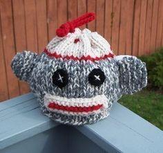 Sock+Monkey+Cozy+Crochet+Patterns | Knitted Sock Monkey Tea Cozy Pattern by crochetdiva on Etsy