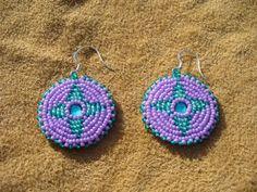 Lavender and Green Rosette earrings   beadlady61 - Jewelry on ArtFire #onfireteam #lacwe #handmade #earrings #jewelry #accessories