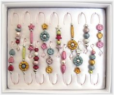 Box of 14 Decorative Stardust Christmas Beaded #Ornament Hook #Hangers $14.00