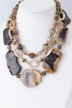 LAYERED CHUNKY STONE NECKLACE