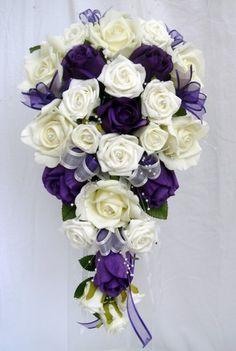 WEDDING BOUQUET PURPLE & IVORY ROSES PEARLS | eBay