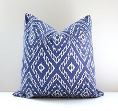 "Indigo & White Ikat Decorative Designer Pillow Cover 18"" ultramarine royal blue Accent Throw Cushion modern suzani geometric cobalt cerulean on Etsy, $42.00"