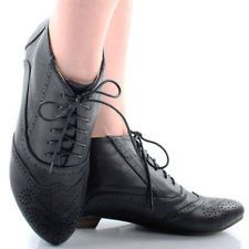 Black Steampunk Lace Up Victorian Granny Perforated Womens Flat Ankle Boots 10