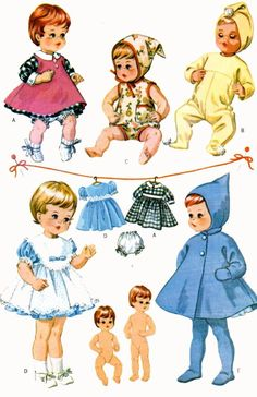 Vintage Doll Clothes PATTERN 7592 for 12 inch Teenie Weenie Tiny Tears 1960s