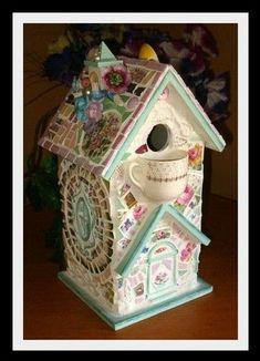 shabbi birdhous, mosaic birdhouses, mosaics, birdhous project, vintage china