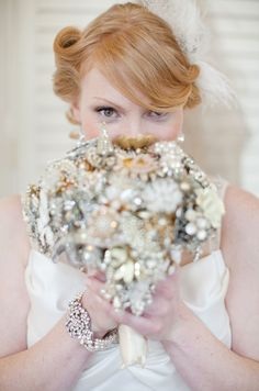 Vintage elegance. #2013trends  @Christa Kimble Photography, Ritzy Rose brooch bouquet. @LUXEredux Bridal 1930s-inspired silk wedding gown.