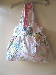 Vintage Embroidered linen bag