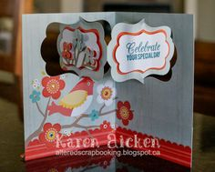 Karen Aicken using the Katie Label Pivot Card die set by Karen Burniston for Elizabeth Craft Designs - Altered Scrapbooking: Lovely Birthday Pivot Card