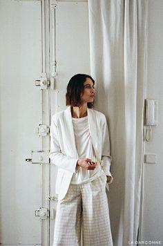Raquel Allegra / Linen Blazer  Apiece Apart / Taiyana Wide Leg Pant.