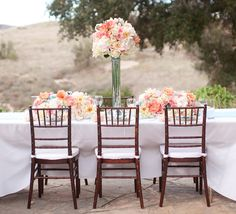Coral and Aqua Wedding Table and Centerpiece peach, modern vintage centerpieces, flower