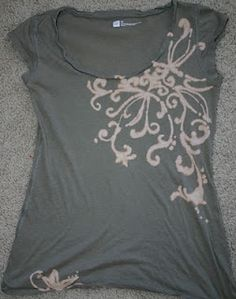 Bleach Pen Shirts...love the scrolling design! sew, craft, whitney art, t shirt designs, art spot, t shirts, diy, bleach pen shirt, pens