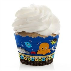 Under The Sea Critters - 12 Baby Shower Cupcake Wrappers. These cupcake wrappers is super easy to wrap around your cupcakes. Go to: http://www.modern-baby-shower-ideas.com/fun-baby-shower-ideas.html use coupon code: modern11 and save 11%