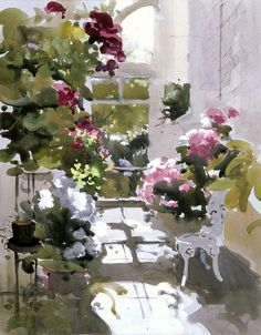 'The Small Conservatory', John Yardley  (b.1933) I love the light & shade in this painting.