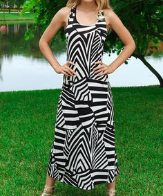 This Black & White Geo Prism Racerback Maxi Dress by Modern Touch is perfect! #zulilyfinds