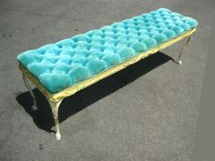 Vintage Hollywood Regency GLAM Turquoise Tufted BENCH Carved French Provincial