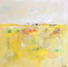 Yellow Abstract Landscape Original Painting by lindadonohue