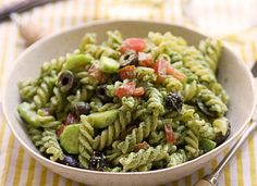 Pesto with Garam Masala gives vibrant flavor and color to pasta salad.