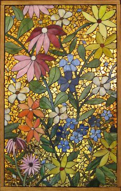 Flower Power Stained Glass Mosaic by GlassArtsStudio on Etsy, $300.00