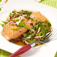 Mirin-Poached Salmon with Spring Salad
